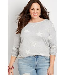 maurices plus size womens heather gray star raw edge sweatshirt
