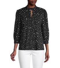 karl lagerfeld paris women's star-print mockneck top - black - size s