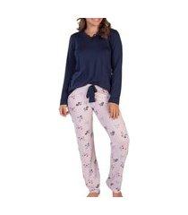 pijama feminino podiun 215126 floral/marinho