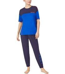 dkny colorblocked sleep t-shirt & cropped jogger pants set