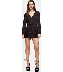 black and gold glitter stripe romper - black