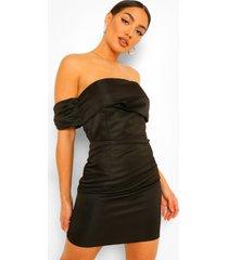 gedrappeerde mini jurk met open schouders, black