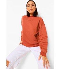 oversized official sweater met reliëf en crewneck, rust