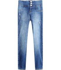 jean skinny pretina ancha color azul, talla 10