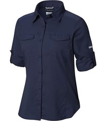 camisa mujer silver ridge lite ml azul oscuro columbia