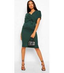 zwangerschaps midi wikkel bodycon jurk met ceintuur, smaragd