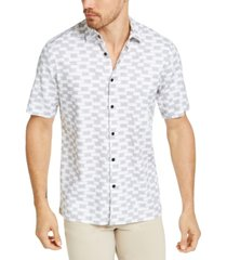 alfani men's ikat block-print linen shirt, created for macy's