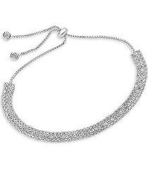 sterling silver crystal triple row slider bracelet