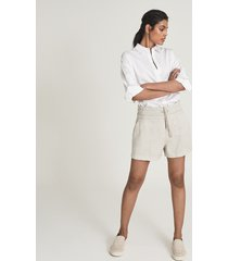 reiss dalila - cotton blend casual shorts in neutral, womens, size 12
