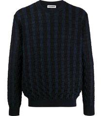 jil sander woven effect sweatshirt - blue