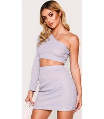 one shoulder rib top & mini skirt, grey