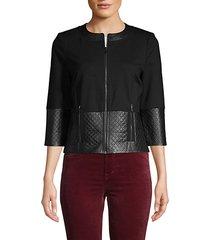 leather-trim double ponte-knit jacket