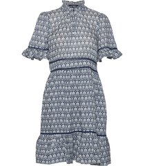 printed dress with ladder lace korte jurk blauw scotch & soda
