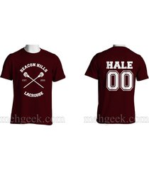 hale 00 derek cross beacon hills lacrosse teen wolf men tee maroon s to 3xl