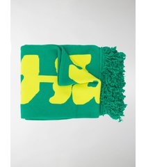 off-white disrupted logo fringed scarf