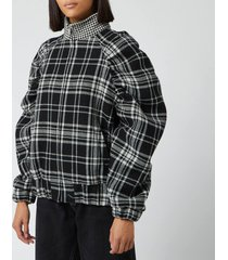 msgm women's check print jacket - black/white - it 40/uk 8 - black