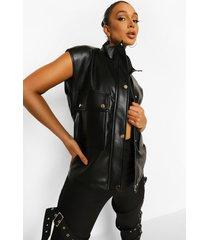 faux leather oversized gilet, black