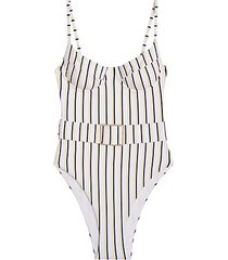 danielle belted striped one-piece swimsuit