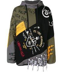 haculla fringe printed hoodie - black
