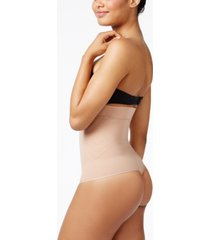 leonisa women's light tummy-control high-waist brief with thong 012730m