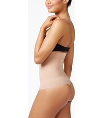 leonisa women's light tummy-control high-waist brief with thong 012730m