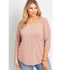 maurices plus size womens 24/7 solid eyelet baseball tee pink