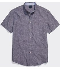 tommy hilfiger men's adaptive custom fit linen cotton short sleeve shirt peacoat - s