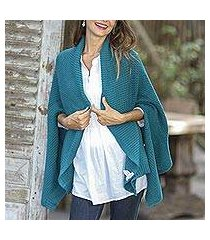 cotton shawl, 'chic warmth in teal' (thailand)