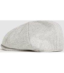 reiss gray - christys' baker boy cap in oatmeal, mens, size m/l
