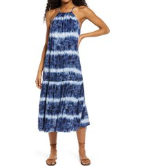 women's speechless tie dye flounce hem midi dress, size x-large - blue