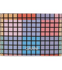 ganni women's check print card holder - multicolour