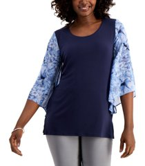jm collection chiffon-sleeve top, created for macy's