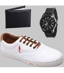 sapatenis casual masculino branco com carteira e relógio