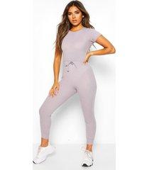 petite zachte geribbelde jogging-jumpsuit met elastische taille, grijs