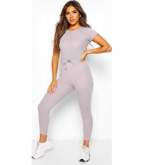 petite soft rib elastic waist jogger jumpsuit, grey