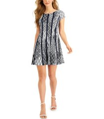 connected petite printed vertical-piping fit & flare dress