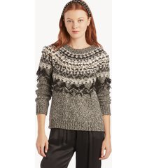 vince camuto women's fairisle crewneck sweater in color: rich black size xs from sole society