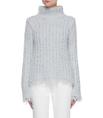 distressed detail high neck rib open knit wool blend sweater