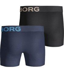 bjorn borg boxershort 2-pak seasonal solid zwart/blauw