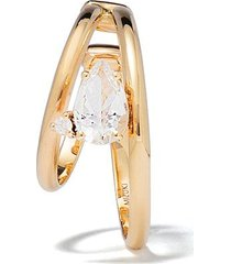 mizuki 14kt yellow gold sea of beauty diamond and white topaz ear cuff