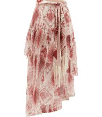 wavelength ikat-print silk-chiffon skirt