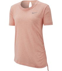 camiseta de mujer w nike miler top ss cinched-rosa