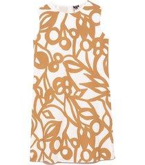 floral stamped poplin a-line dress in beige