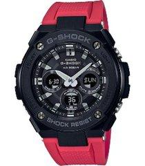 reloj g shock gst_s300g_1a4 rojo resina
