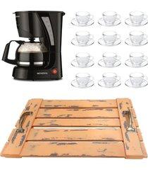 kit 1 cafeteira mondial 110v, 12 xícaras 240ml com pires e 1 bandeja em mdf com alça - tricae