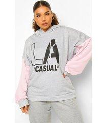plus oversized la casual hoodie, grey