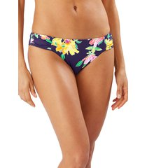 women's tommy bahama sun lilies reversible shirred hipster bikini bottoms, size x-small - blue