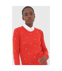 suéter lã banana republic tricot merino-blend puff sleeve vermelho