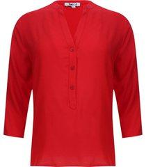 blusa unicolor color rojo, talla s