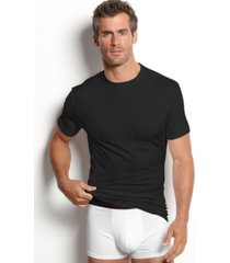 alfani men's underwear, cotton spandex tagless slim fit crew neck undershirt 2 pack